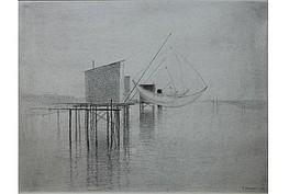 """Gunnar Norrman (1912 - 2005 ) """" Bootssteg in Frankreich"""" ,Zeichnung,  48x62cm, 1.800€"""
