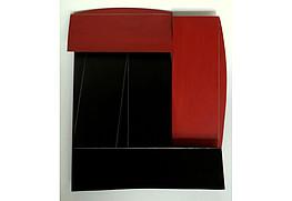 Alain Clement, Metallrelief , Stahl bemalt,44,5x38,5cm  rücks. sig., 5.200€