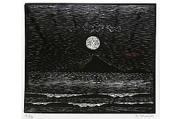 """Gerhard Marcks (1889-1981 ) """" Meerlandschaft """" Holzschnitt auf Japanpapier, 1966/67 sign. und num. 4/50 Lammek H 416. 324,9 x 29,6 cm 380 €"""