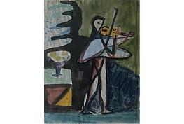 """Werner Gilles """" Der Geiger ( Neffe von Gilles ) """" Aquarell,   58 x 47 cm, rückseitig Best. des Nachlass ,7.500 €"""