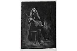 "Gerhard Marcks (1889-1981 ) "" Gitarrenspieler "" Litho, 1978 sign. und num. 6/30 Lammek L 196. 33 x 24,1 cm 260 €"
