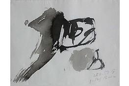 """Julius Bissier """" Werner gewidmet """" , Julius Bissier """" 28.09.59 """" G, Tusche auf weissen  Ingres, Abb. S. 249, 24,0 x 31,5 cm, 5.400 €"""
