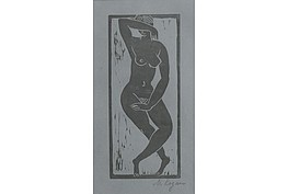 """Moissey Kogan"""" Stehender weiblicher Akt """"  Holzschnitt, 1922, sign. WVZ. Söhn 26, 18,0 x 8,0 cm,  1.250€"""