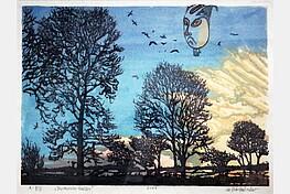 """Nikolaus Störtenbecker (*1940 ), """" Japanischer Ballon """", Farbholzschnitt ,2007, Sign.,dat.,bet. 31,0 x 41,5 cm € 700"""