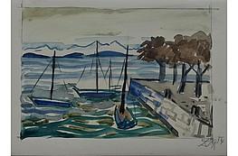 """Otto Dix """"Schiffe im Hafen am Bodensee"""" Aquarell auf Velin, 16,3  x 23,6 cm, 18.800 €"""