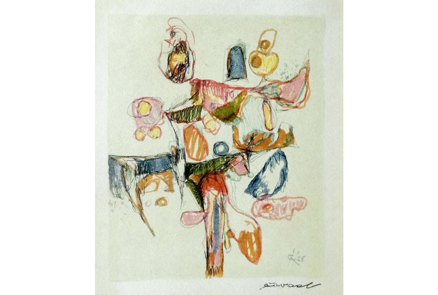 Cavel, Farbzeichnung sign., 17x14 cm, 500€