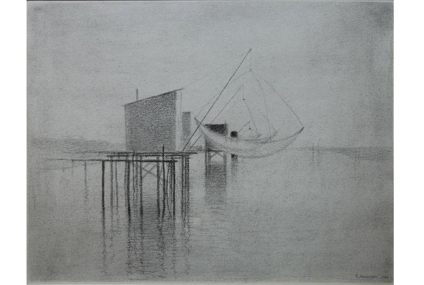 """Gunnar Norrman """" Bootssteg in Frankreich"""" ,Zeichnung,  48x62cm, 1.800€"""
