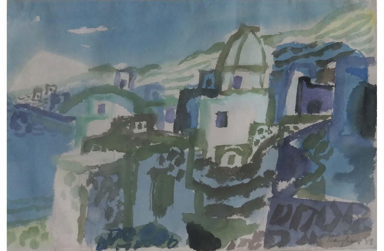 "Eduard Bagheer "" Forio Ischia "" Aquarell 1948, Sign. u. dat., 29,6 x 41,5 cm, 3.200 €"