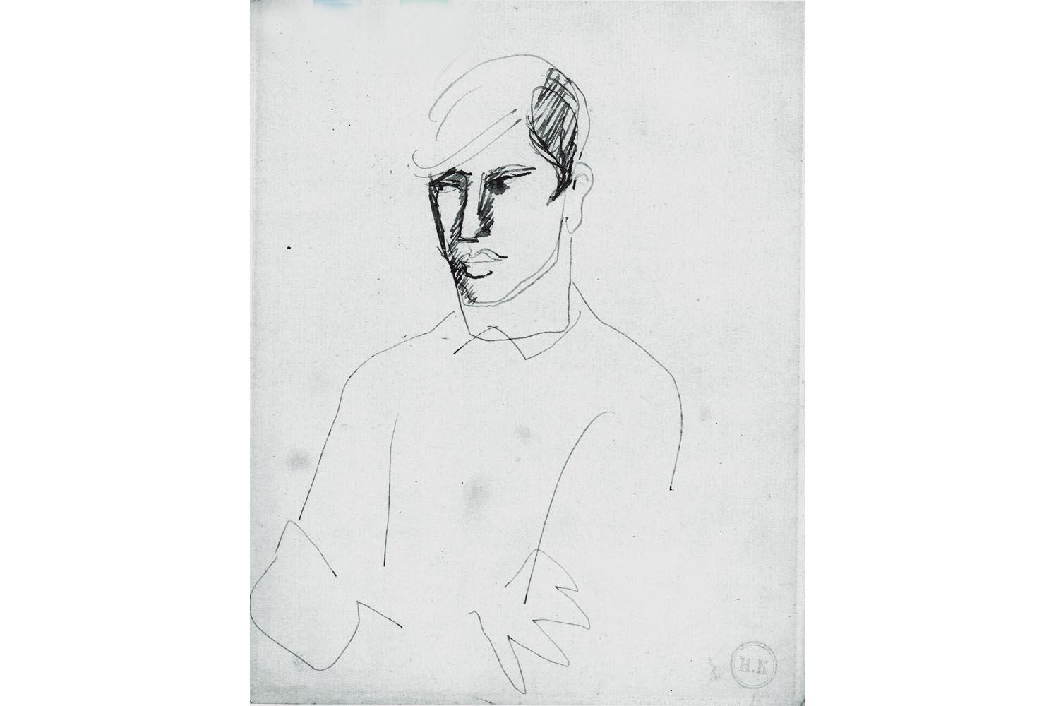 """Helmut Kolle """" Portrait """" Blaue Tinte auf weissem Papier, Nachlass- und  Prägestempel, 22,3 x 17,5 cm, 1.200 €"""