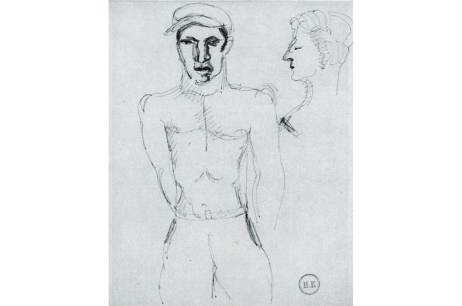 """Helmut Kolle """" Figur """" Blaue Tinte auf weissem Papier, Nachlass- und  Prägestempel, 22,6 x 17,7 cm, 1.100 €"""