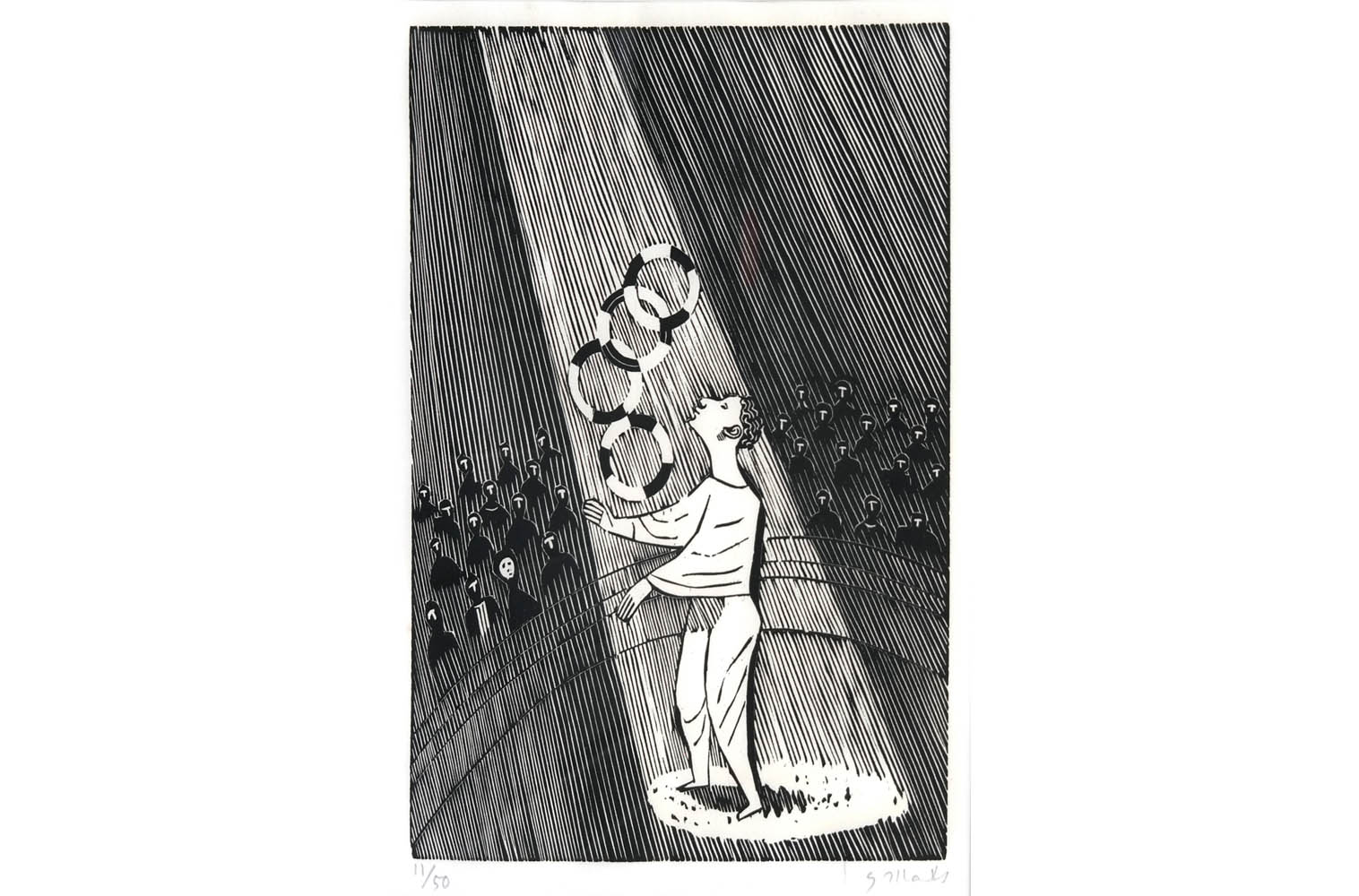 "Gerhard Marcks (1889-1981 ) "" Jongleur "" Holzschnitt auf Japanpapier, 1956 sign. und num. 17/50 Lammek H 270. 30,1 x 22 cm 410 €"