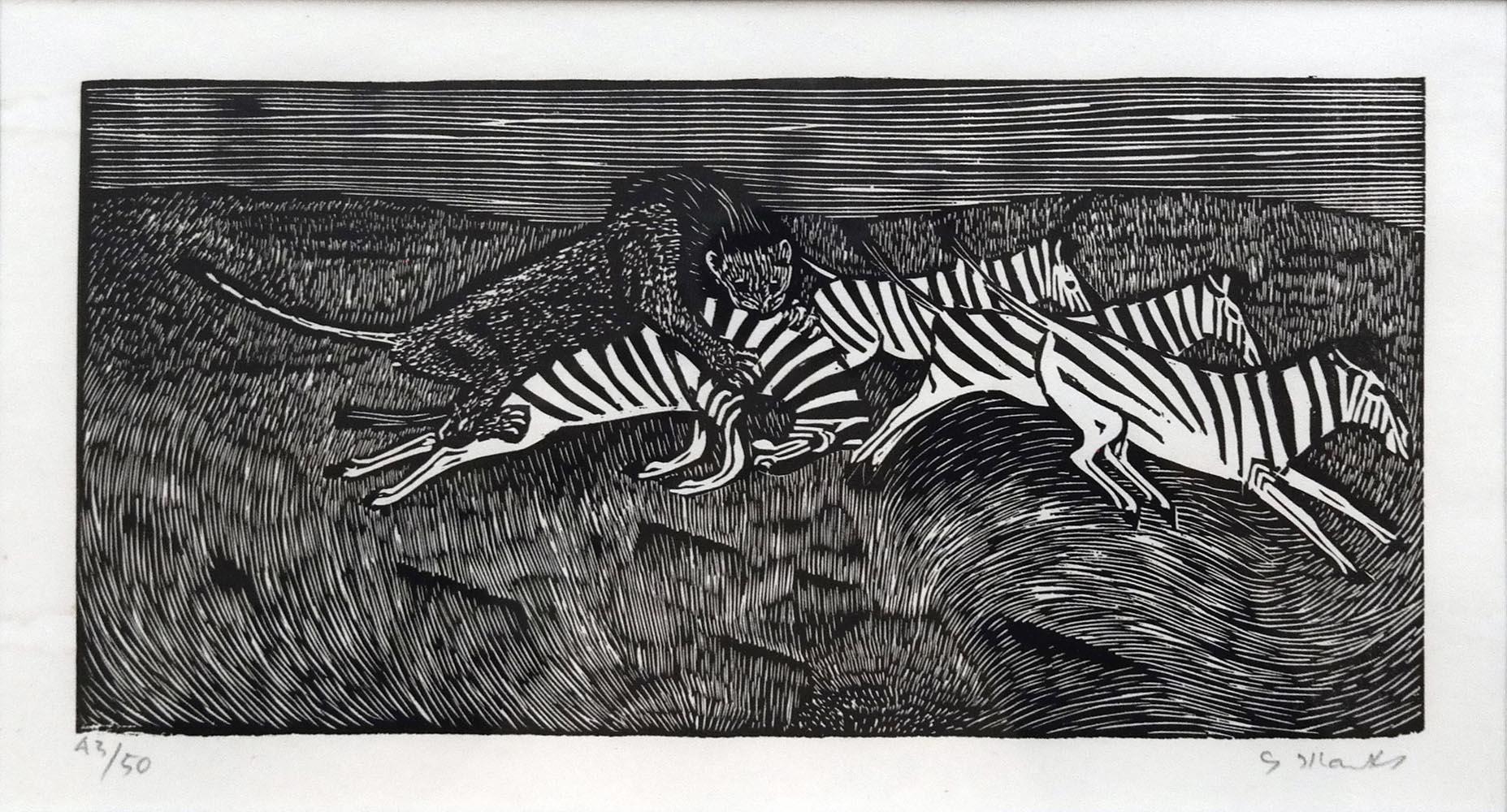 """Gerhard Marcks (1889-1981 )  """" Löwe und Zebras """" Holzschnitt auf Japanpapier, 1956 sign. und num. 43/50 Lammek H 252. 15,8 x 32,7 cm 1.200 €"""