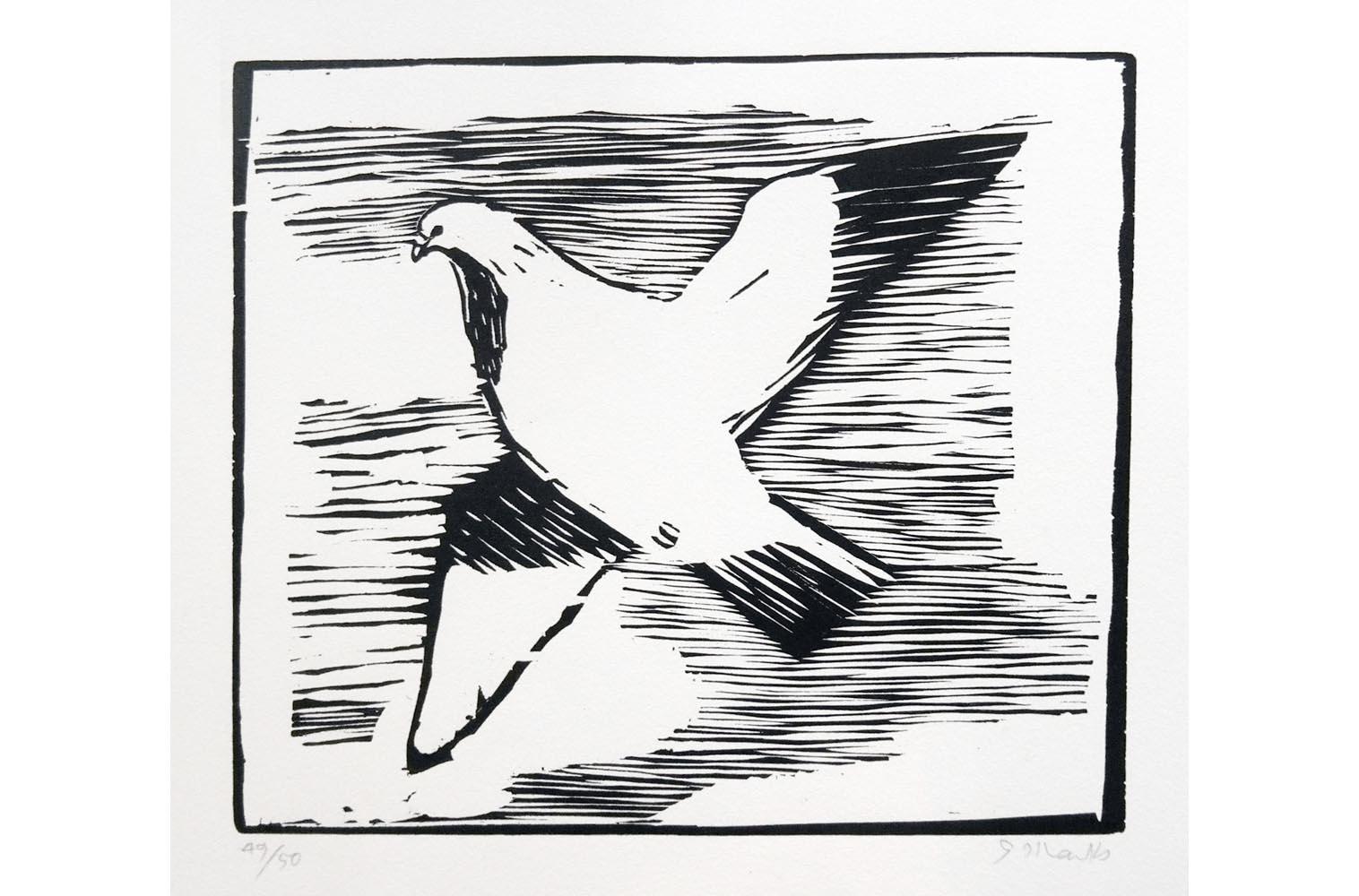 """Gerhard Marcks (1889-1981 ) """" Taube """" Holzschnitt auf Japanpapier, 1953 Auflage 50 Exemplare, sign. und num. 49/50 Lammek H 213. 25,8 x 29,9 cm 400 €"""