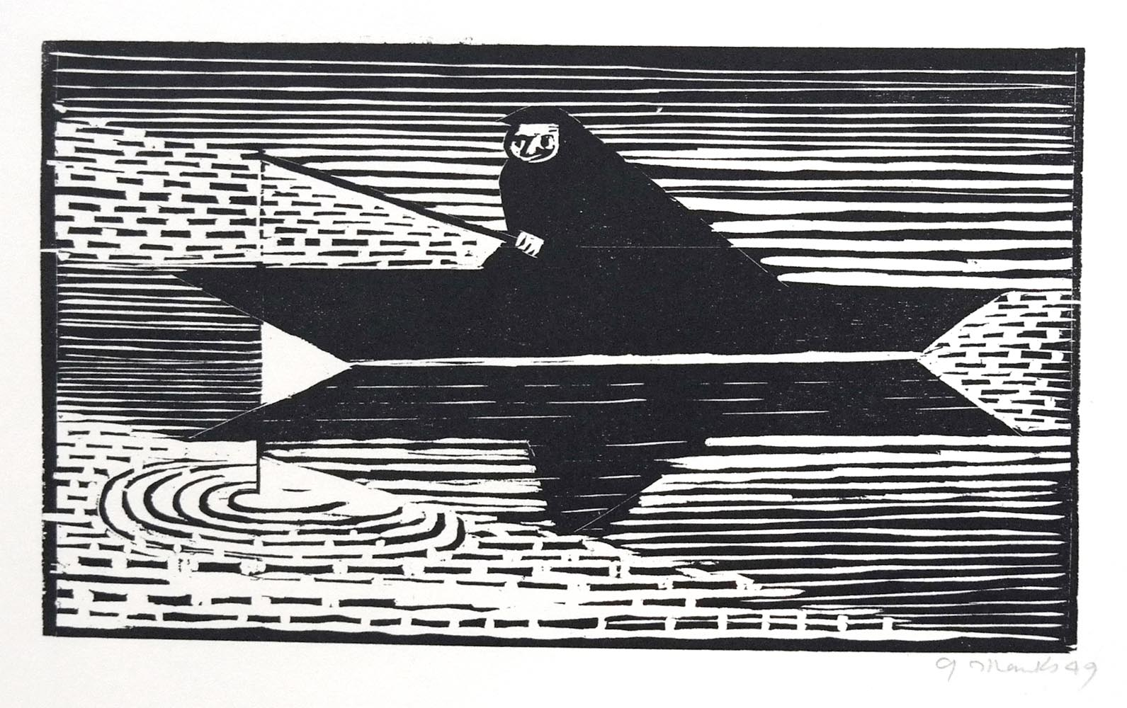 "Gerhard Marcks (1889-1981 ) "" Der Fischer "" Holzschnitt auf Japanpapier, 1949 Probedruck Lammek H 201, sign. 16,6 x 29,2 cm 460 €"