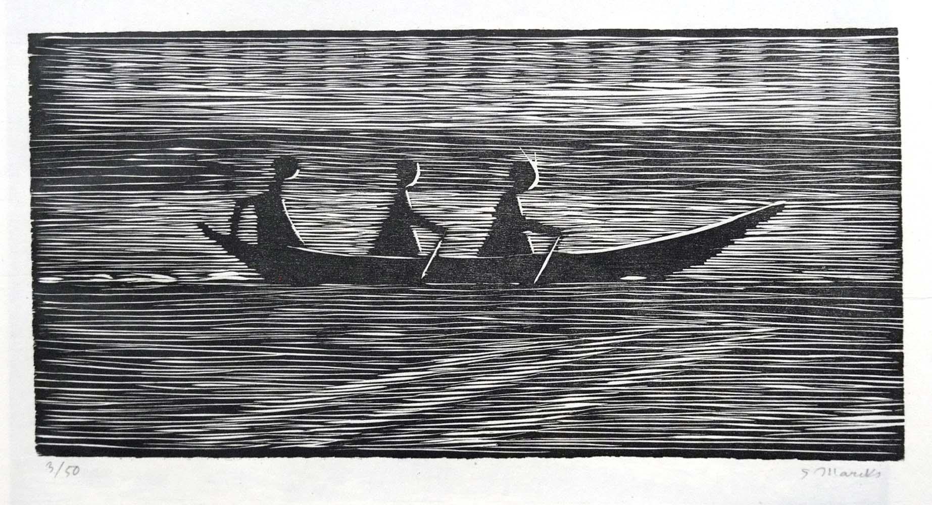 """Gerhard Marcks (1889-1981 ) """" Ruderboot """" Holzschnitt auf Japanpapier, 1962 sign. und num. 3/50 Lammek H 372. 16,9 x 34 cm 240 ,- Euro"""