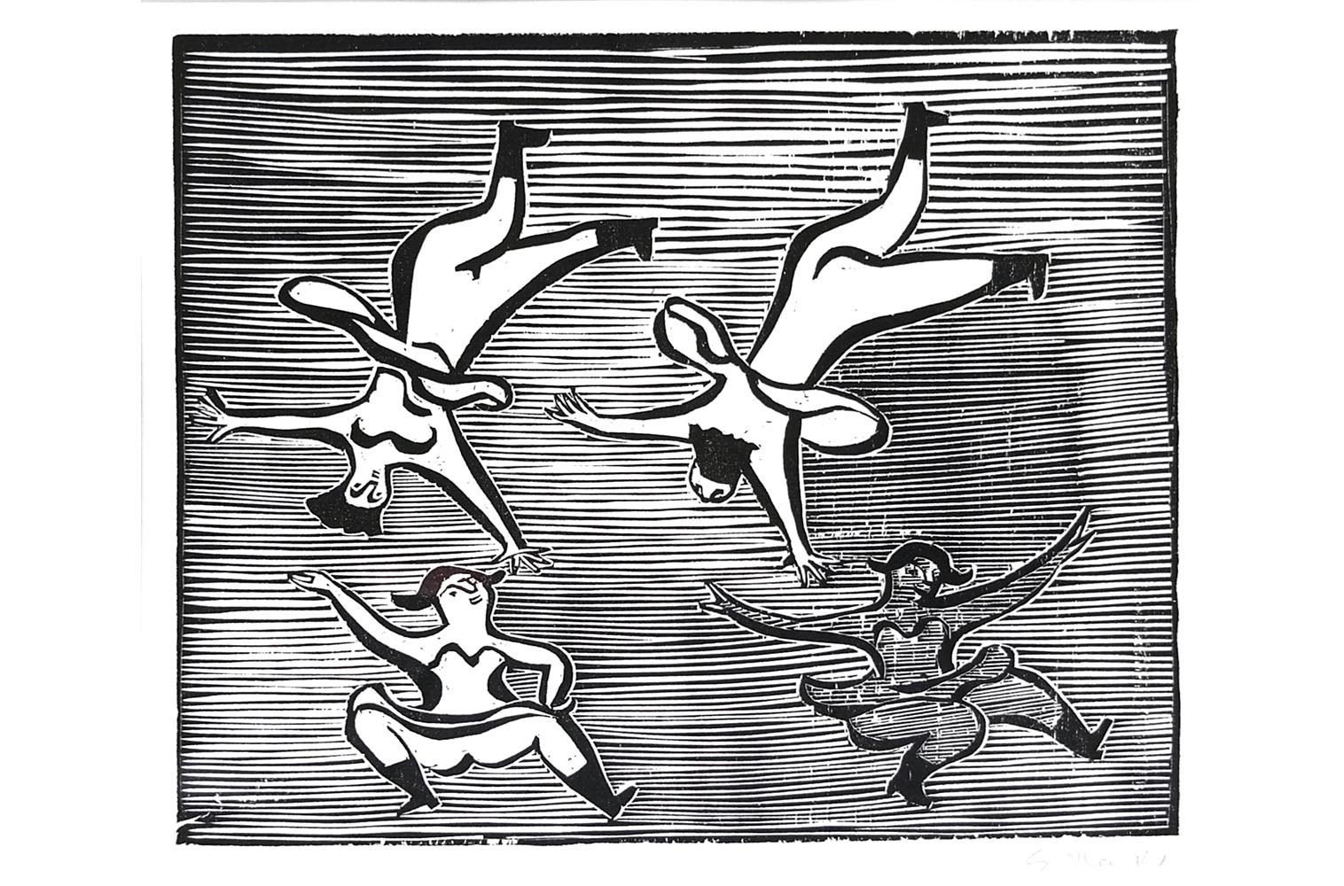 "Gerhard Marcks (1889-1981 ) "" Krakowiak "" Holzschnitt auf Japanpapier, 1948 sign. Lammek H 195.  26,2 x 30,5 cm 460 €"