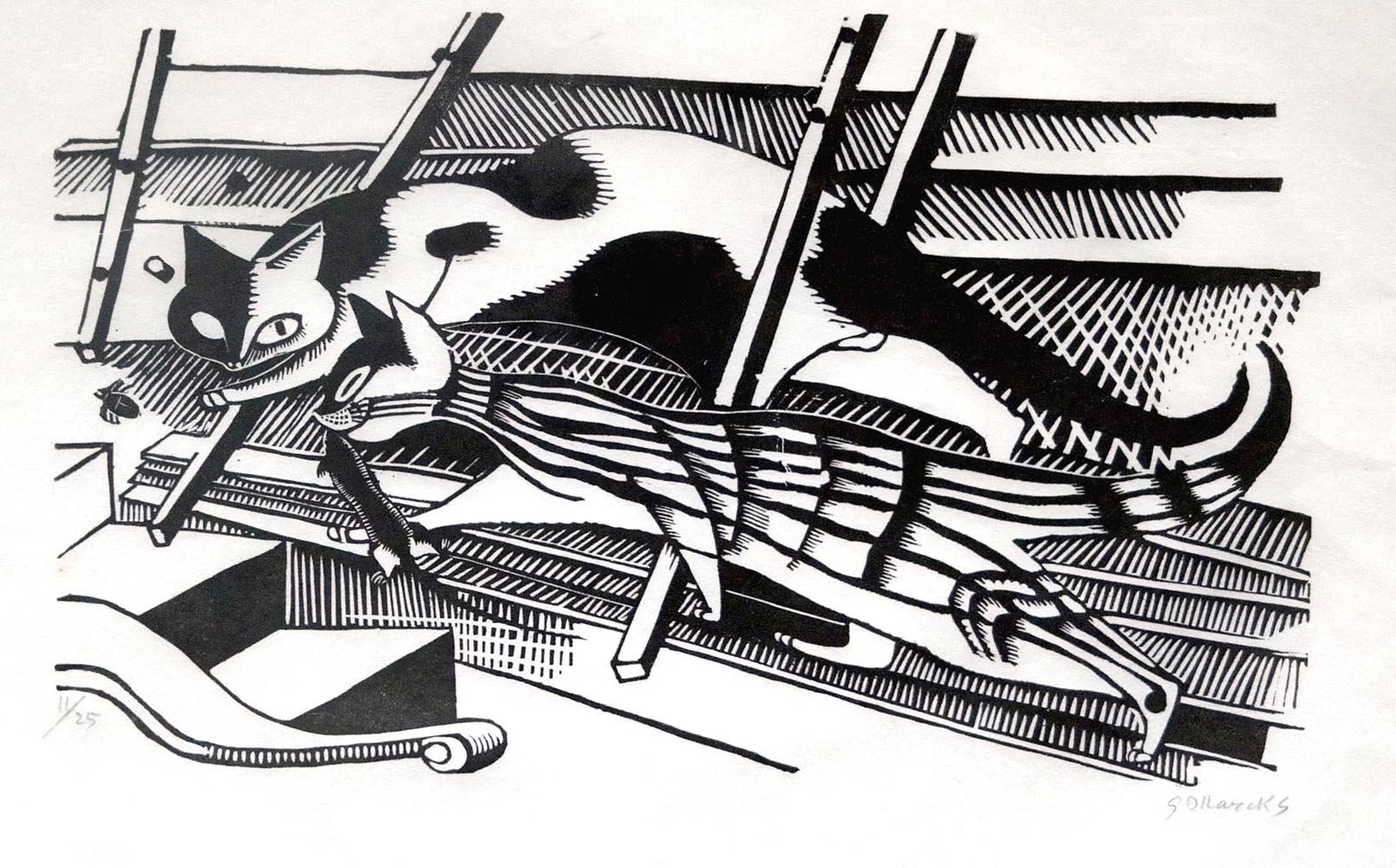 """Gerhard Marcks (1889-1981 ) """" Die Katzen """" Holzschnitt auf Japanpapier, 1921 sign. und num. 11/25 Lammek H 27.  42,5 x 50 cm 6800 €"""