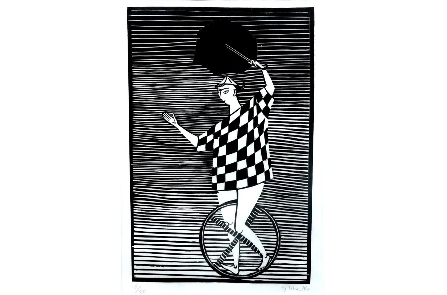 """Gerhard Marcks (1889-1981 ) """" Fortuna I """" Holzschnitt auf Japanpapier, 1954 sign. und num. 16/50 Lammek H 239. 31,6 x 20,3 cm 650 €"""