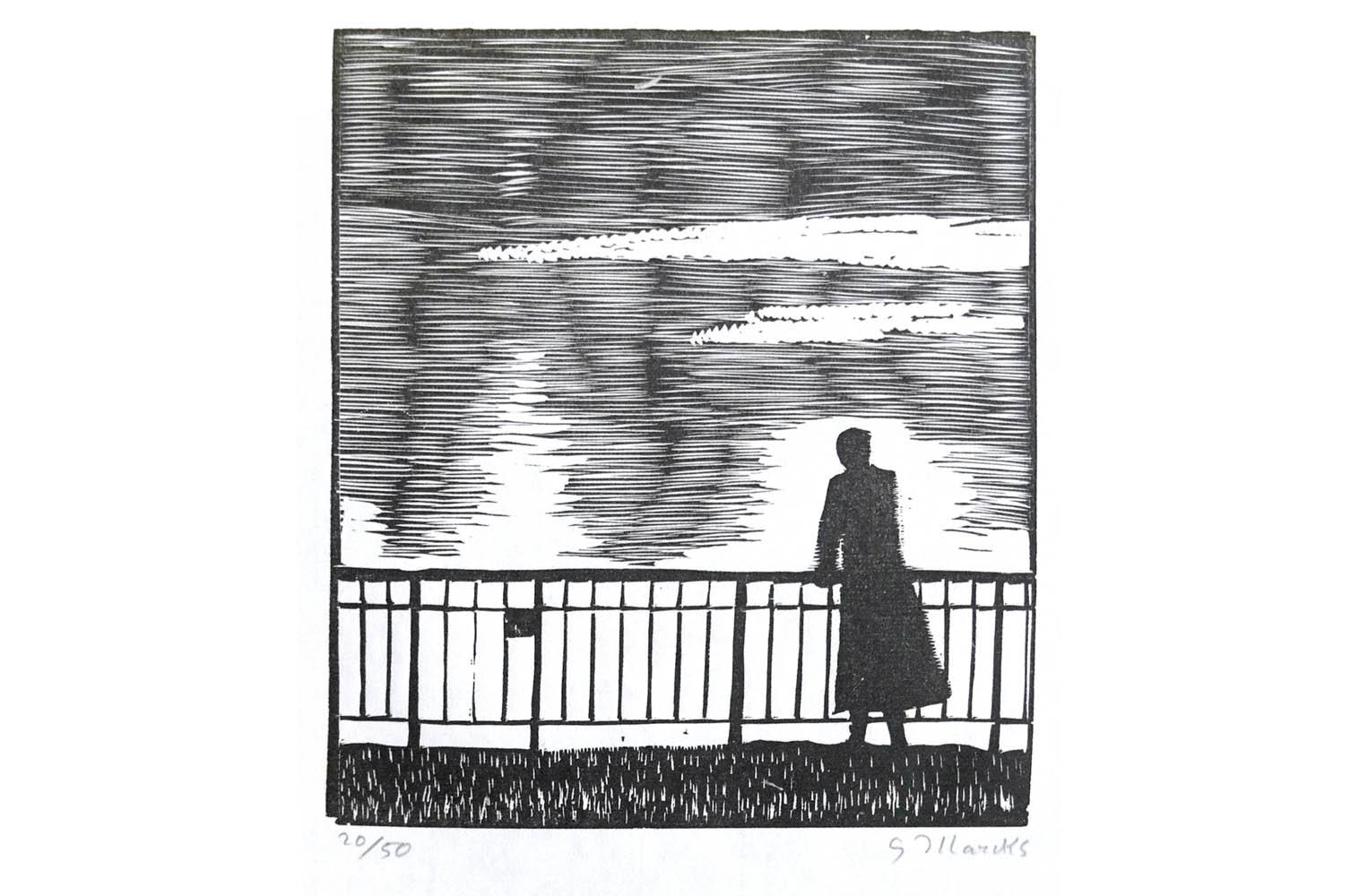 """Gerhard Marcks (1889-1981 ) """" Am Teich """" Holzschnitt auf Japanpapier, 1964/65 sign. und num. 20/50 Lammek H 399. 22 x 19,2 cm 260 €"""