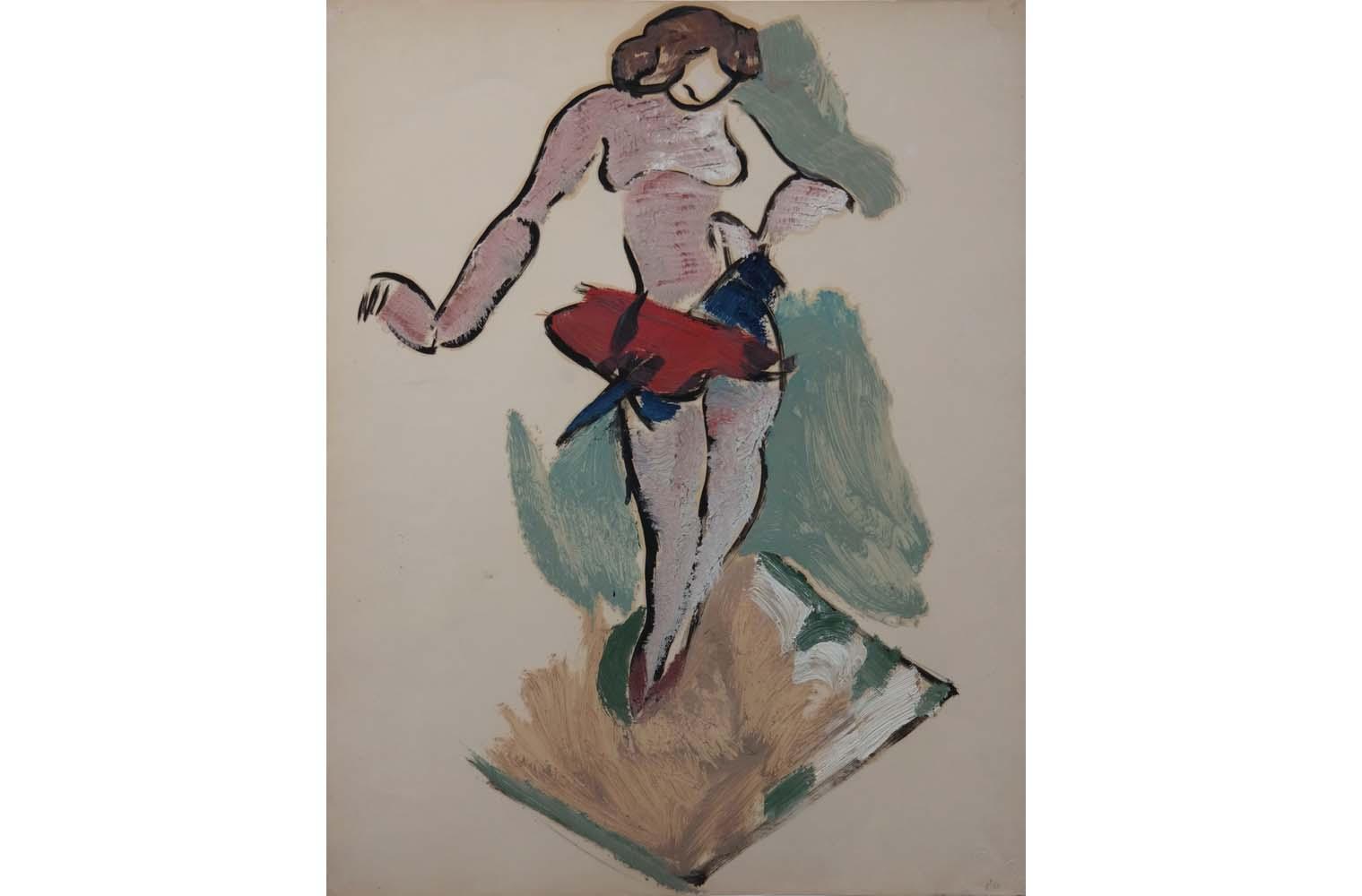 """Helmut Kolle  """" Trapeztänzerin """" , Öl auf Karton nach 1926, Unbezeichnet, Chabert 169, 62,0 x 48,0 cm, 12.800 €"""
