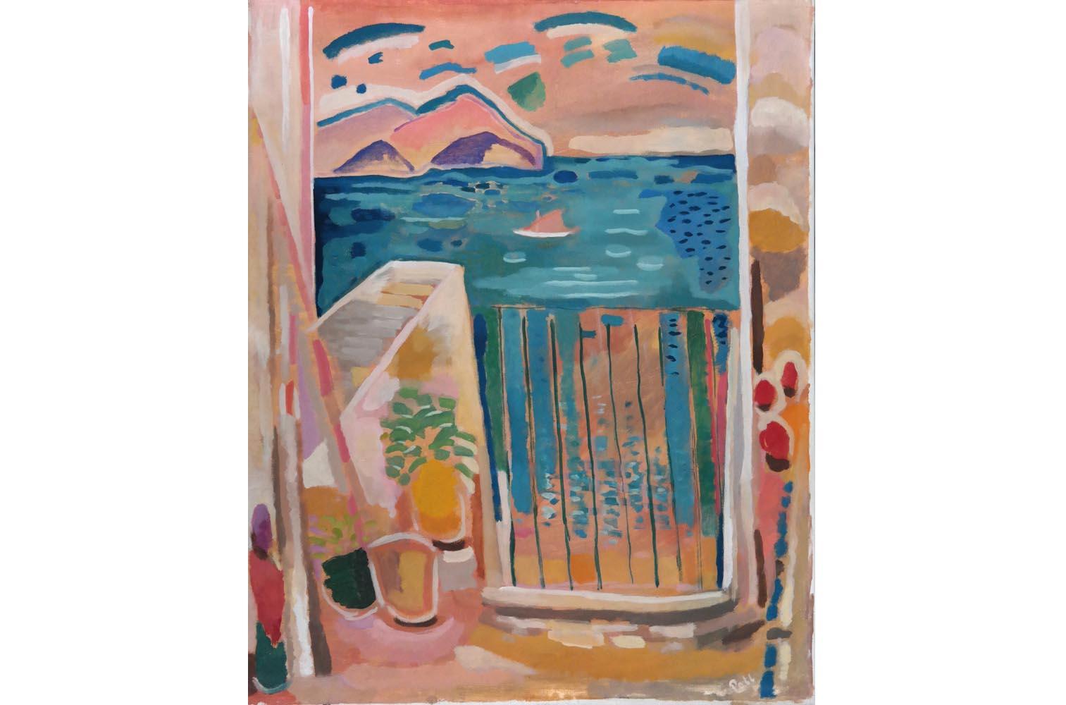 """Hermann Poll """" Terrasse """" 1950er, Öl auf Leinwand, sign., 55 x 45 cm, 8.000 €"""