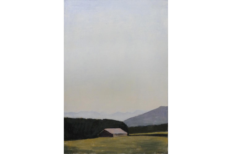 """Reiner Wagner """" Landschaft bei Münsing """", Öl auf Leinwand 2014, Sign., dat.,75,0 x 50,0 cm , 6.500  €"""